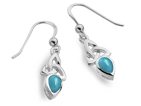 Silver Earrings - Celtic Trinity Turquoise