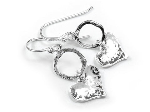Silver Earrings - Circle and Heart