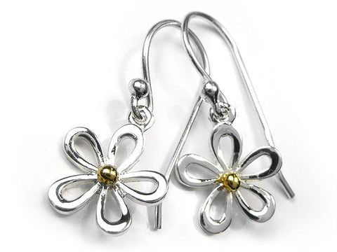 Silver Earrings - Crazy Daisy Drop