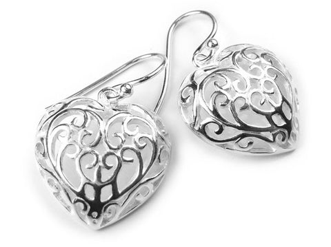 Silver Earrings - Filigree Heart