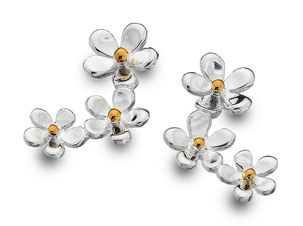 Silver Earrings - Flower Cascade