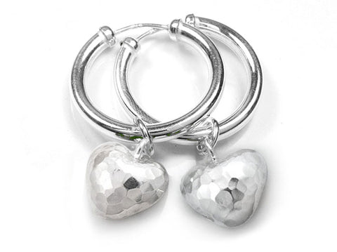 Silver Earrings - Hammered Heart Hoops