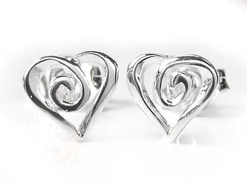 Silver Earrings - Heart Swirl Studs