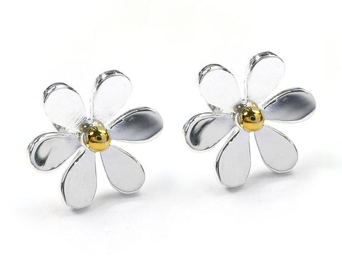 Silver Earrings - Large Flower