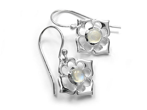 Silver Earrings - Lotus Moonstone