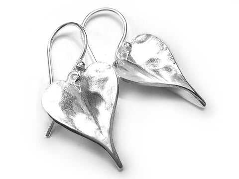 Silver Earrings - Organic Heart Drop