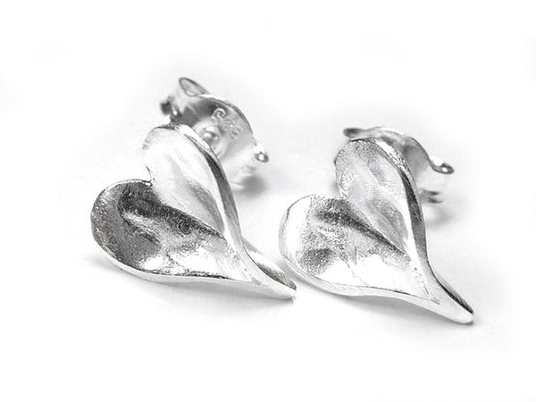 Silver Earrings - Organic Heart Studs