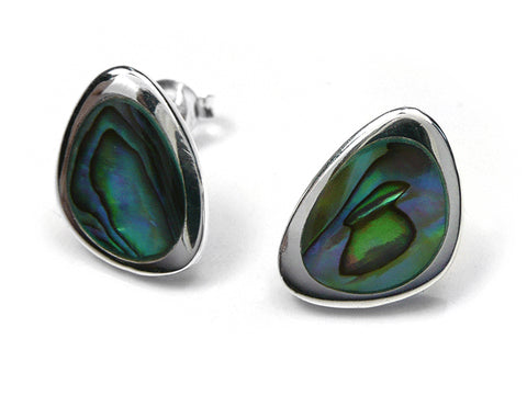 Silver Earrings - Paua Shell Large