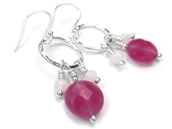 Silver Earrings - Pink Jade