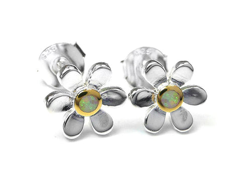 Silver Earrings - Pretty Daisy Opal