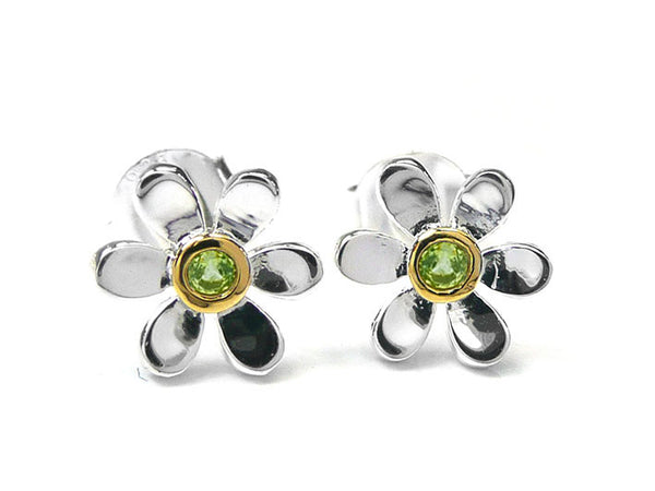 Silver Earrings - Pretty Daisy Peridot
