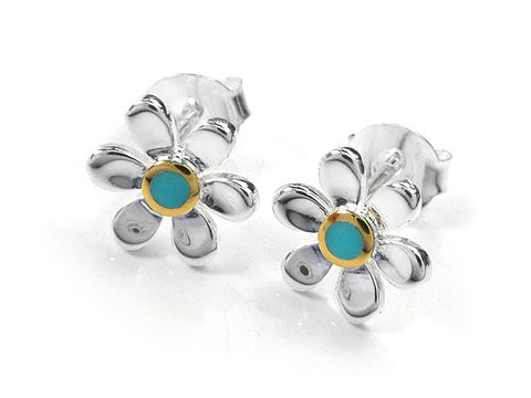 Silver Earrings - Pretty Daisy Turquoise