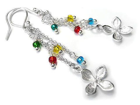 Silver Earrings - Rainbow Drops