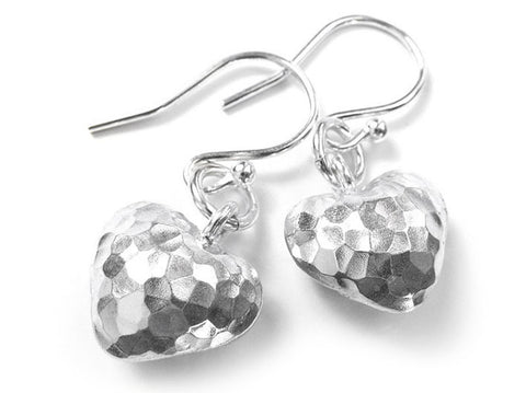 Silver Earrings - Rustic Heart