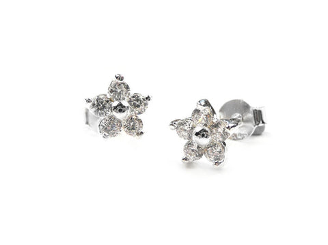 Silver Earrings - Sparkle Flower