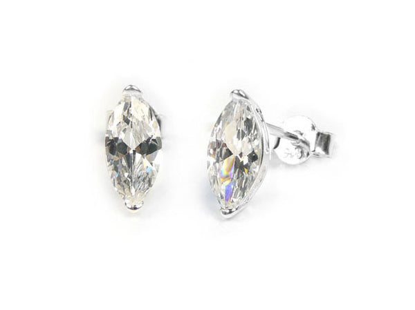 Silver Earrings - Sparkly Marquise