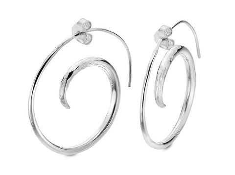 Silver Earrings - Spiral Hoops