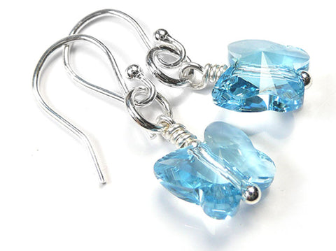 Silver Earrings - Swarovski Butterflies Aquamarine