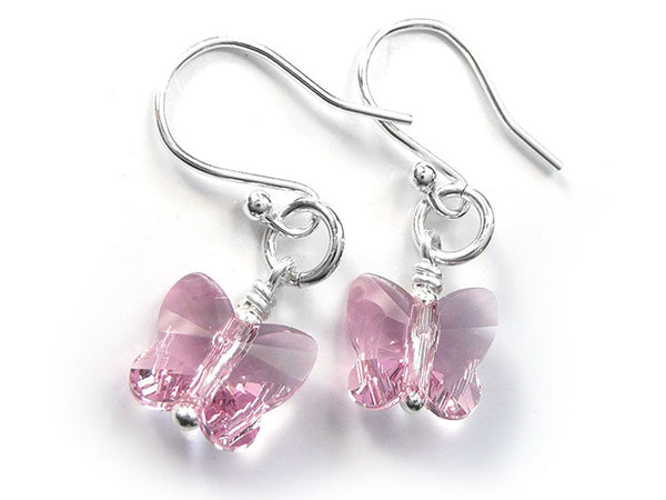 Silver Earrings - Swarovski Butterflies Blush
