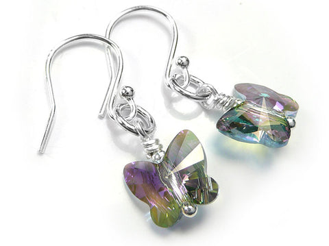 Silver Earrings - Swarovski Butterflies Paradise