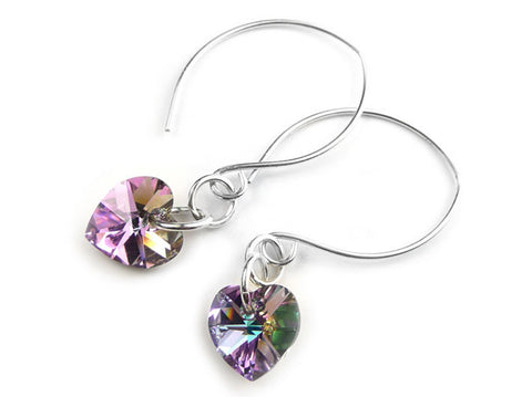 Silver Earrings - Swarovski Crystal Light Vitrail Hearts