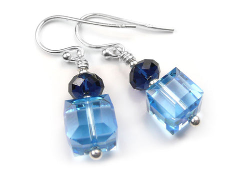 Silver Earrings - Swarovski Cubes Blue