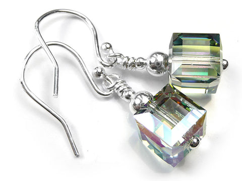 Silver Earrings - Swarovski Cubes Paradise