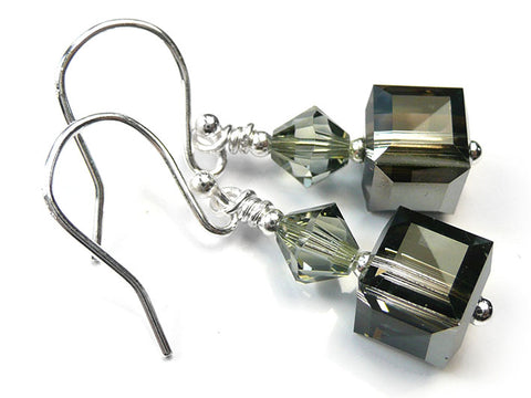 Silver Earrings - Swarovski Cubes Silver Night