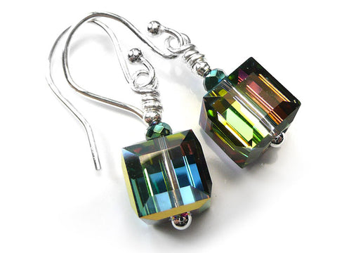 Silver Earrings - Swarovski Cubes Vitrail