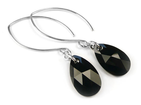 Silver Earrings - Swarovski Drop Jet