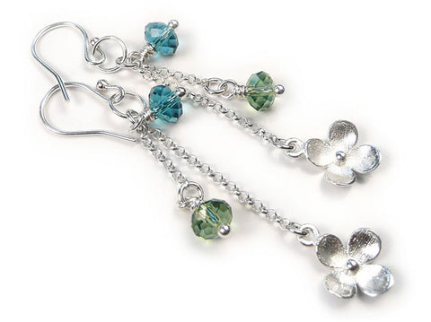 Silver Earrings - Swarovski Teal Flower