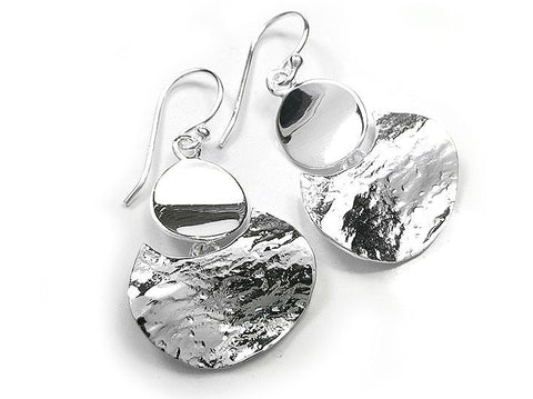 Silver Earrings - Textured Crescent