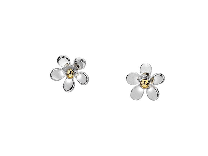Silver earrings tiny flower studs for Gemsprouts tiny plant jewelry