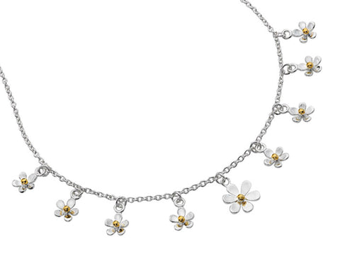Silver Necklace - Daisies