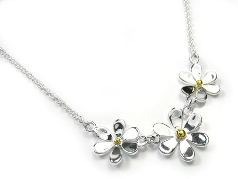 Silver Necklace - Flower Trio