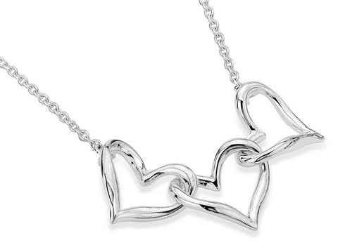 Silver Necklace - Interlocking Hearts