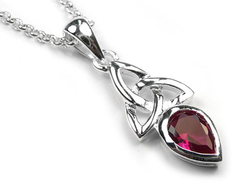 Silver Pendant - Celtic Trinity Ruby