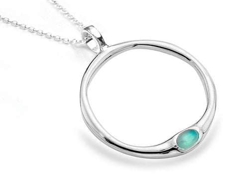 Silver Pendant - Chalcedony Ring