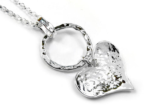 Silver Pendant - Circle and Heart