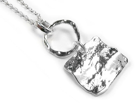 Silver Pendant - Circle and Square