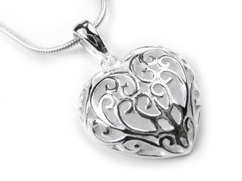Silver Pendant - Filigree Heart