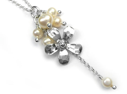 Silver Pendant - Flower Drop