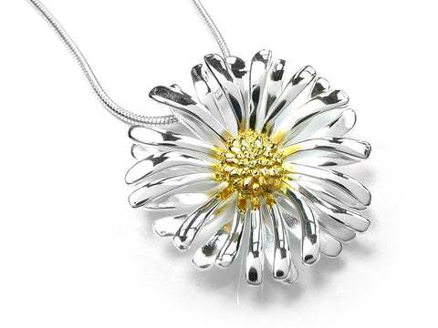 Silver Pendant - Large Daisy