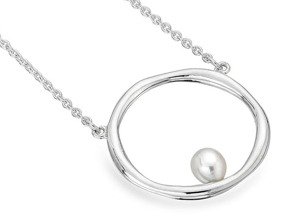 Silver Necklace - Pearl Hoop