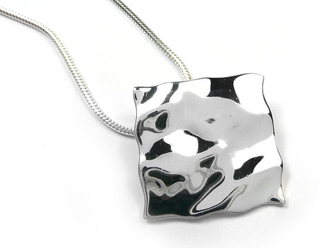 Silver Pendant - Rippled Square