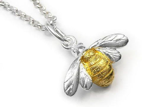 Silver Pendant - Simple Bee