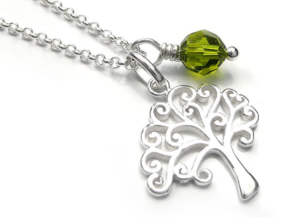 Silver Pendant - Swirly Tree Of Life