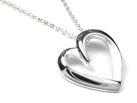 Silver Pendant - Textured Heart