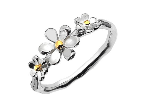 Silver Ring - Flower Trio