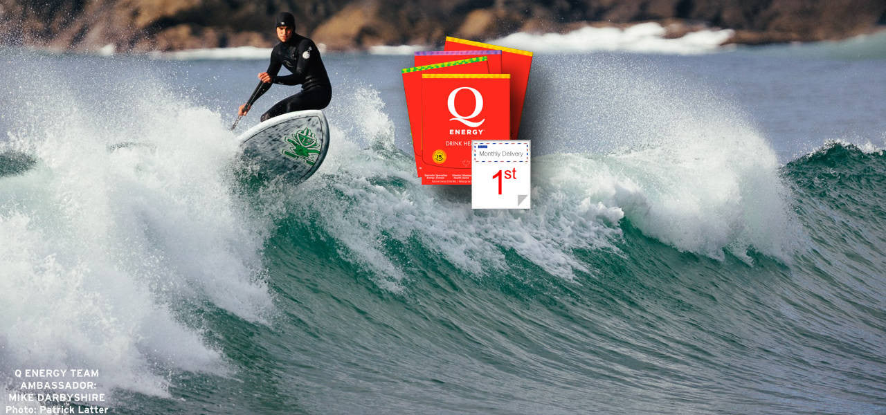 Q Energy Drink Healthy Ambassador Mike Darbyshire Surfing in Tofino, British Columbia